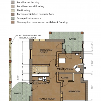 Daylight basement plan with local, salvage, and site-harvested finish plan