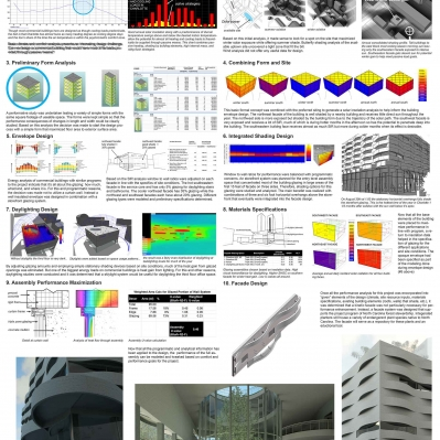 Layout of performance analysis for kinetic facade project using Vasari, Ecotect, Therm, Green Building Studio, and Radiance