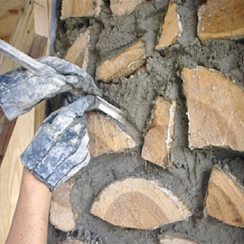 Pointing cordwood mortar joints