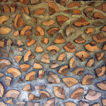 Finished cordwood wall