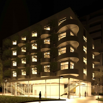 Charlotte Uptown Condo Project: night render