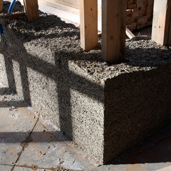 Hempcrete wall section with forms removed
