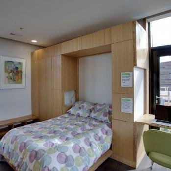 The indoor bedroom is small...