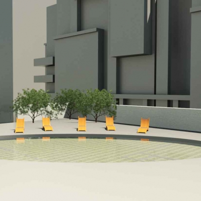 Condo project render: roof pool