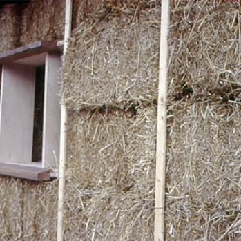 Straw bales in wall before trimming